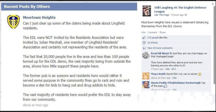 Moorfield Residents EDL Statement